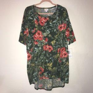 Watercolor Floral Irma Top LuLaRoe XL BNWT Green